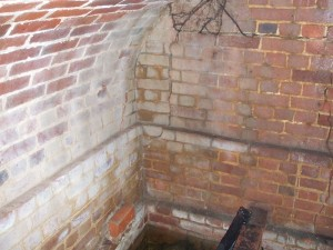 Brickwork inside the vault at Peldon