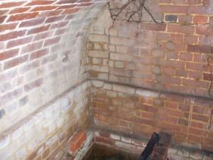 Brickwork inside the vault at Peldon