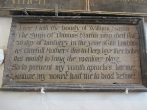 Epitaph to William Martin, Elmstead Church