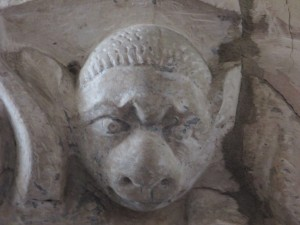 Image on a stone capital, St George's Church, Gt Bromley