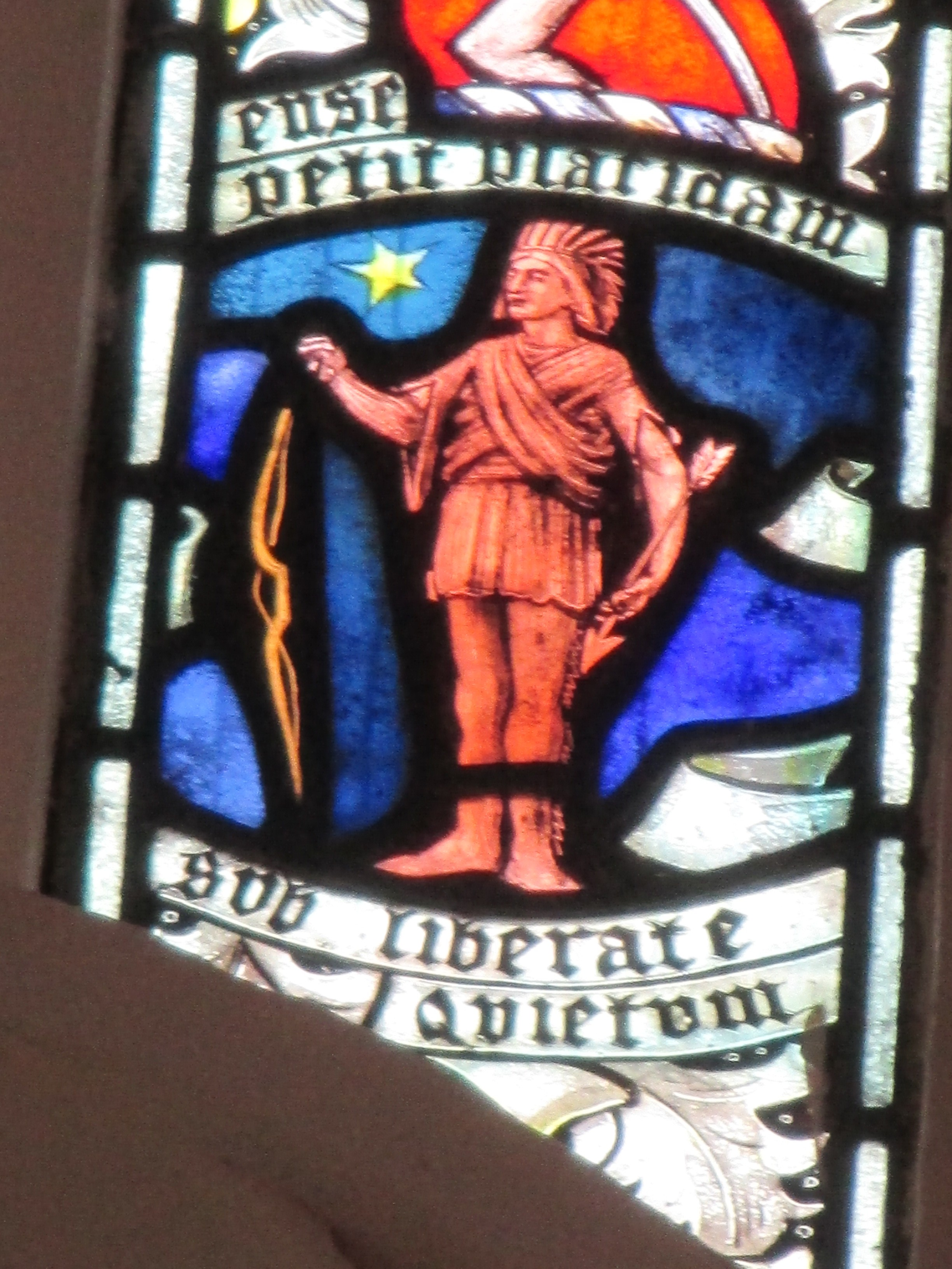 A native American in a stained glass window, St George's Church, Gt Bromley