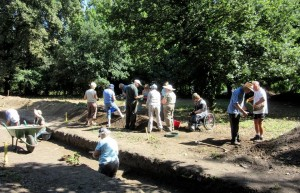 Members of the Group excavating at St John's Abbey site in Colchester Town Centre in 2015